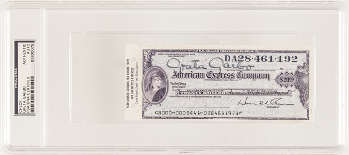 Rare GRETA GARBO Signed American Express Traveler's Cheque PSA/DNA Certified