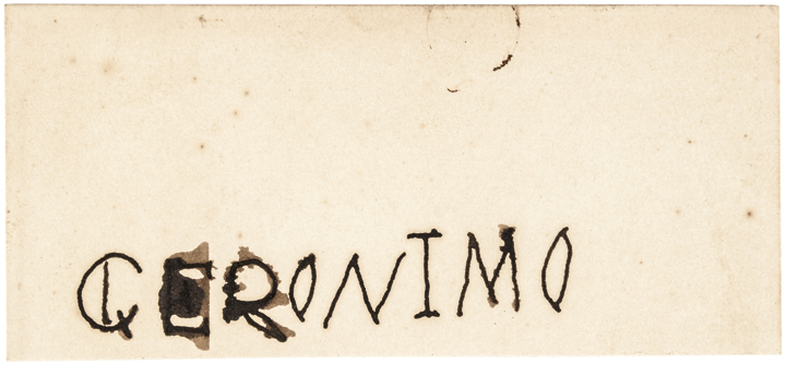 c. 1904 Signed Card, GERONIMO with Its Transmittal Postal Mailing Envelope