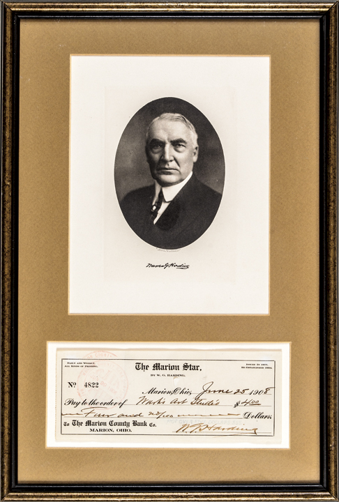 1908 U.S. President WARREN G. HARDING Signed Check with Portrait Display Framed