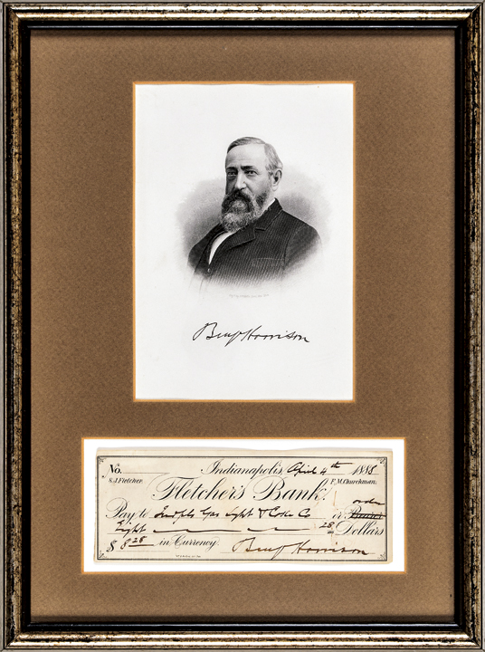 1888 U.S. President BENJAMIN HARRISON Signed Check with Engraved Print Framed