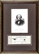 1862 Author NATHANIEL HAWTHORNE Signed Check with Engraved Print Display Framed