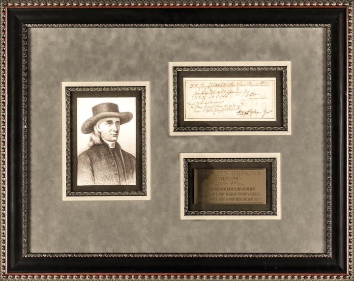 1764 STEPHEN HOPKINS Manuscript Document Signed, Framed w/ Printed Portrait