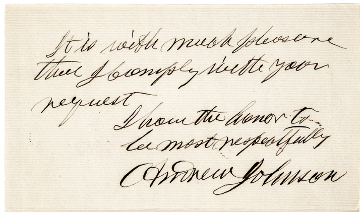 Rare Inscribed Autograph ANDREW JOHNSON Fully Signed Note Card