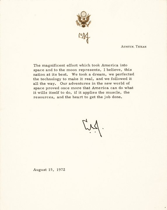 LYNDON B. JOHNSON August 15, 1972 Apollo Program Typed Letter Signed L.B.J.