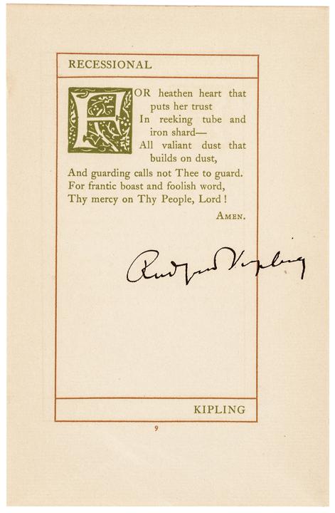 RUDYARD KIPLING Autograph Printed Poem Signed Queen Victoria's Diamond Jubilee