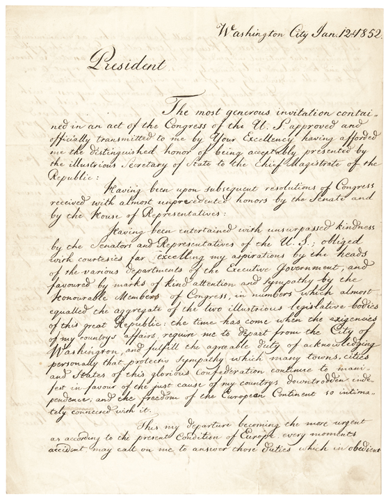 Important LAJOS KOSSUTH Manuscript Farewell Letter Signed to President Fillmore