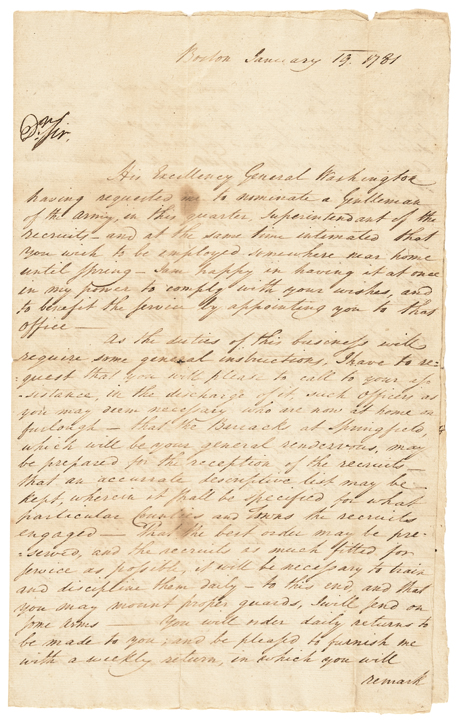 1781 Rare General BENJAMIN LINCOLN Signed Revolutionary War Manuscript Letter