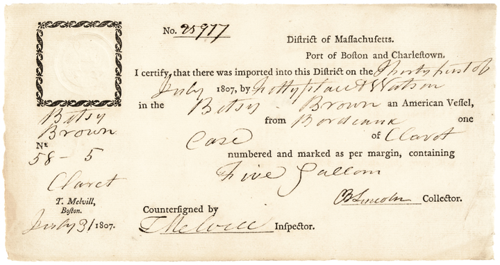 1807 - Gen. Benjamin Lincoln Signed Document