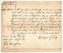 Signer PHILIP LIVINGSTON 1760 Colonial Period Manuscript Document Signed