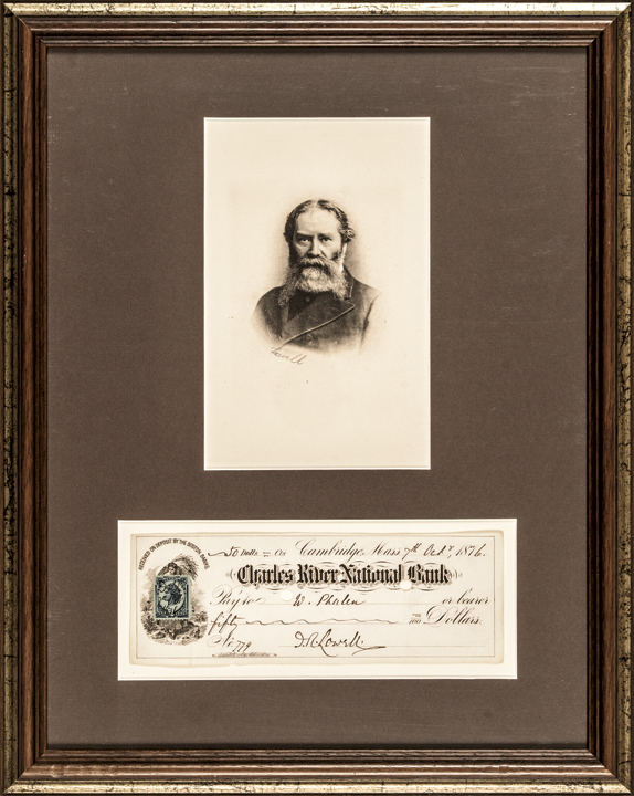 JAMES RUSSELL LOWELL Signed Check + Engraved Print Framed