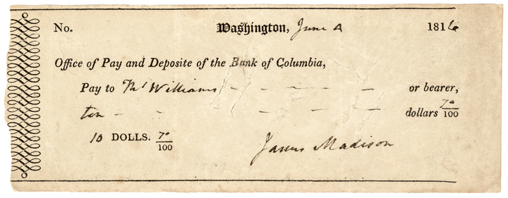 1816 Choice President JAMES MADISON Signed Check as President !