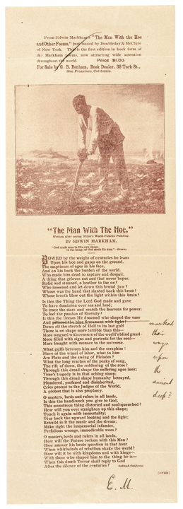 c. 1900, San Francisco Printed Advertisement: The Man With The Hoe, Signed E. M.