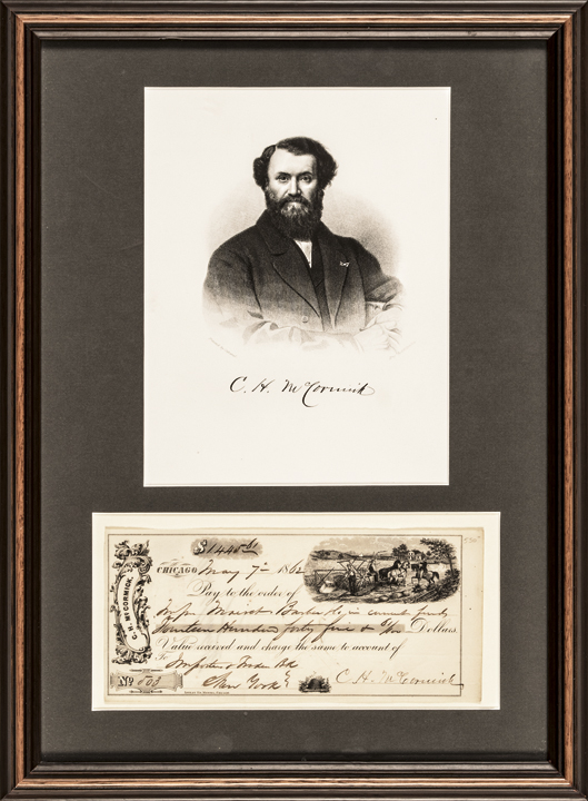 CYRUS HALL McCORMICK Signed Check + Engraved Print Framed