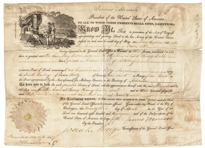 1821 President JAMES MONROE Signed Partially-Printed Land Grant Vellum Document