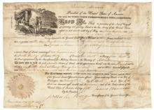 1821 President JAMES MONROE Signed Partially-Printed Land Grant Vellum Document