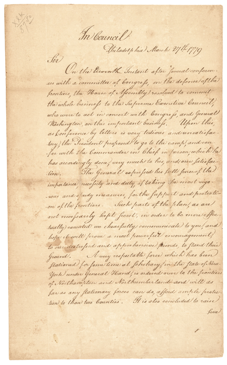 Great 1779 PA. Governor JOSEPH REED Signed Manuscript Revolutionary War Letter