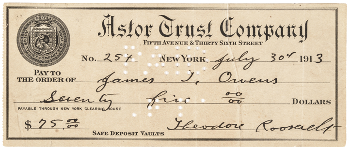 1913 Bold & Vivid THEODORE ROOSEVELT Signed Check