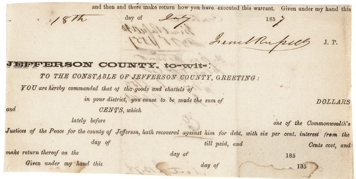ISRAEL RUSSELL, Justice of the Peace at Harper's Ferry Captive Document Signed
