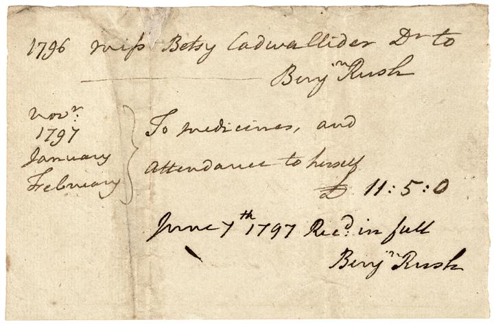 1796 Declaration Signer BENJAMIN RUSH Twice Signed Medical Receipt Document