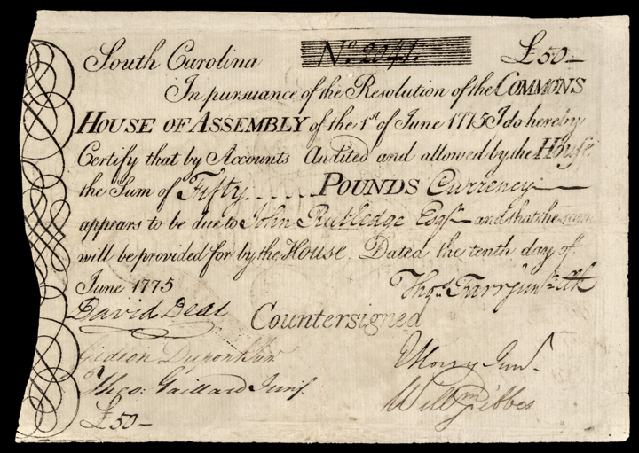 June 1, 1775 JOHN RUTLEDGE Paid 50 S.C. Colonial Currency - Finest PMG Certifed