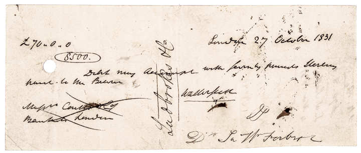 1831 Bank Check Signed Sir Walter Scott, Author of: Rob Roy & Ivanhoe