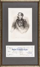1871 PHILIP HENRY SHERIDAN Signed Check with Engraved Print Display Framed