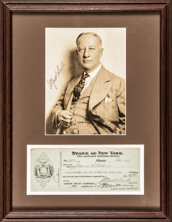 ALFRED E. SMITH Signed Check + Signed Photo 1928 Presidential Candidate, NY Gov.