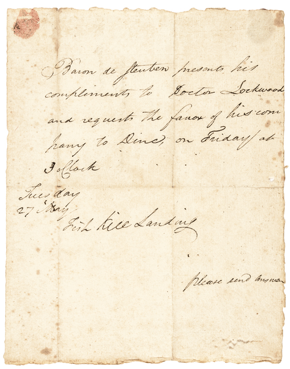 BARON VON STEUBEN Autograph Letter Signed at Fish Kill Landing (New York)