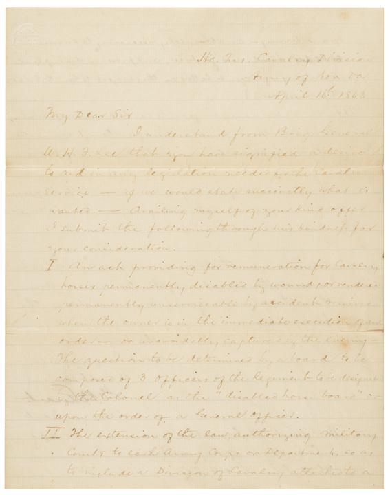 April 16, 1863 J.E.B. STUART Rare Civil War Autograph Field Written Letter