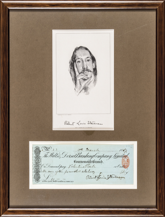 1887 ROBERT LOUIS STEVENSON Signed Check with Engraved Print Display Framed