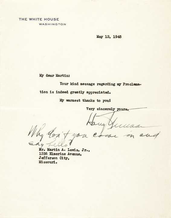 HARRY S. TRUMAN May 12, 1945-Dated, Typed Letter Signed as President !