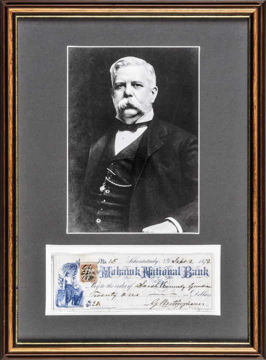 GEORGE WESTINGHOUSE Signed Check with Portrait Display Framed