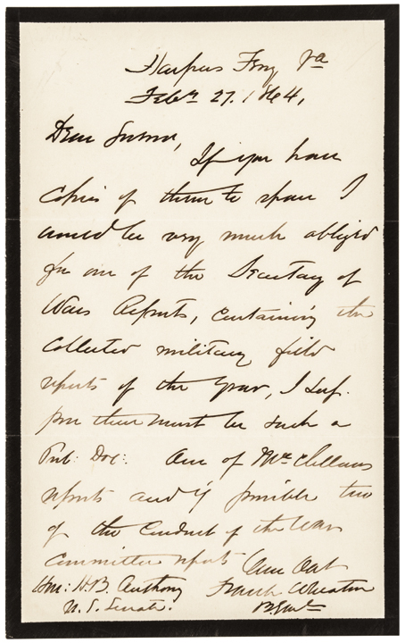 1864 Civil War Union Army Major General FRANK WHEATON Autograph Letter Signed