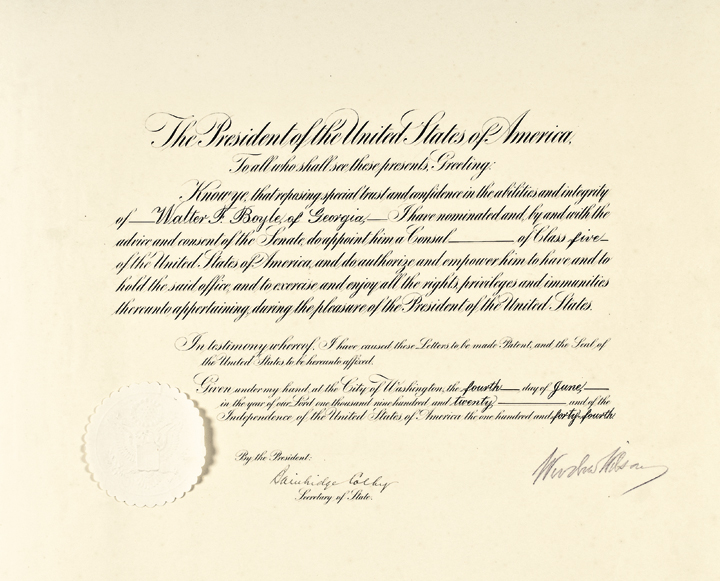 1920 WOODROW WILSON Signed Presidential Appointment with Bold Large Signature