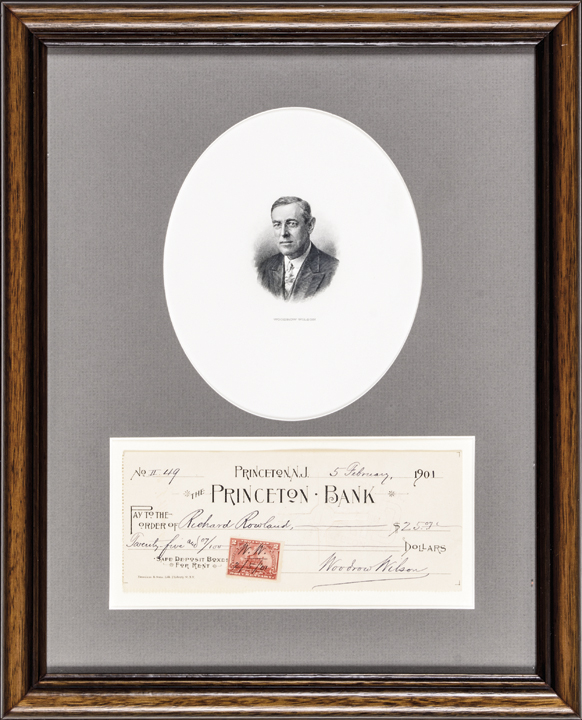 1901 President WOODROW WILSON Signed Check with Engraved Portrait Display Framed