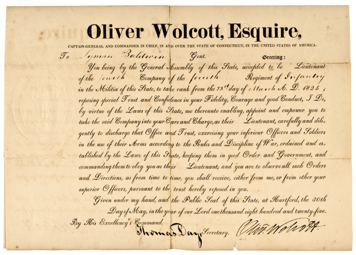 Gov. OLIVER WOLCOTT JR. Autograph Signed Document Commission of Lyman Baldwin