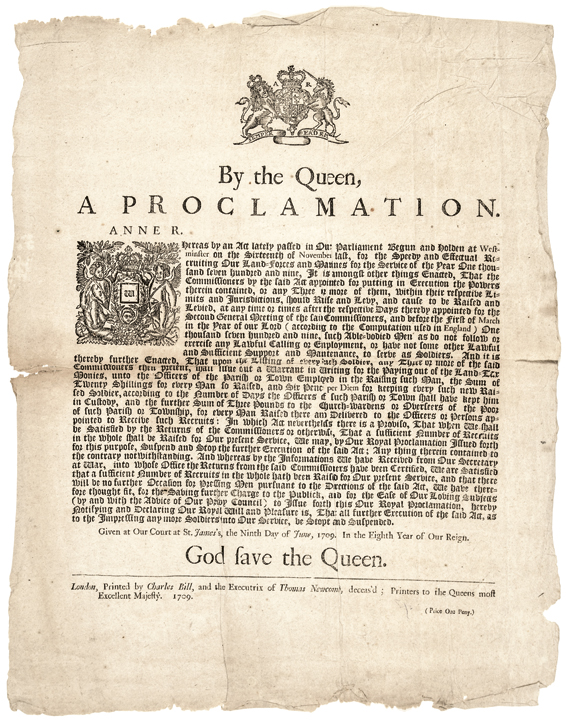 1709 Queen's: A PROCLAMATION Broadside for Recruiting Land-forces and Marines
