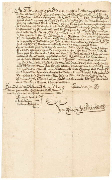 1726-Dated Early Colonial Era, Manuscript Document, Last Will, Chester County