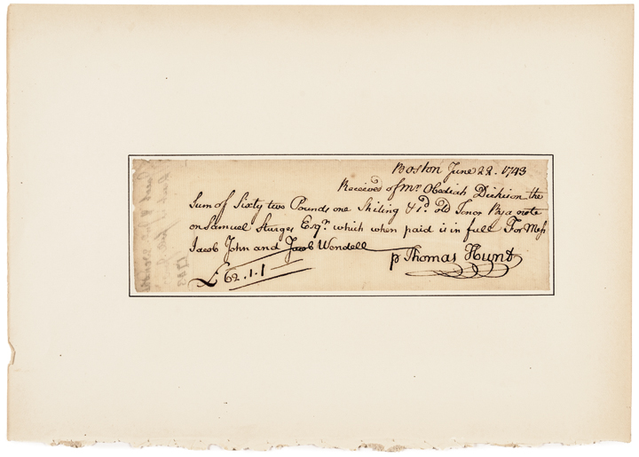 June 22, 1743-Dated Autograph Document Endorsed by JACOB WENDELL
