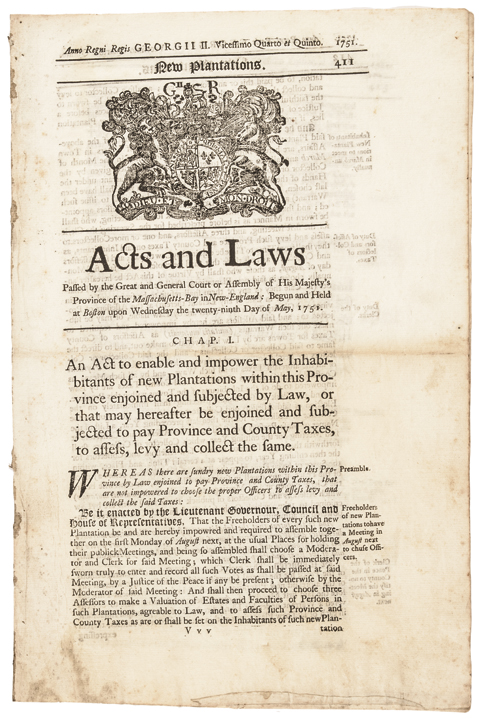 1751 Acts and Laws His Majesty's Province of Massachussetts-Bay at Boston Scarce