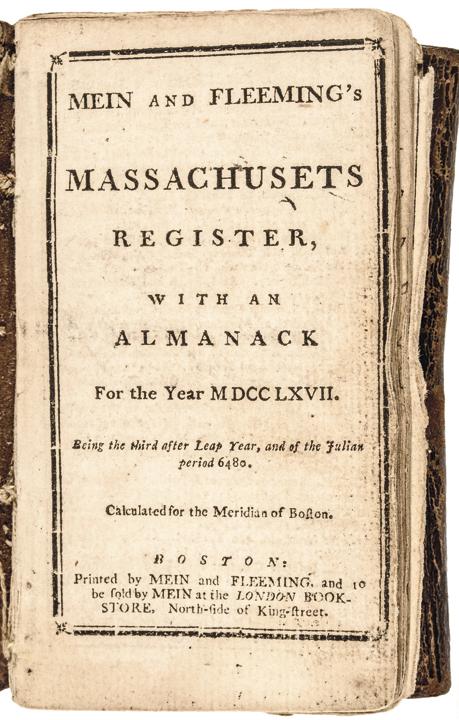 1767 Colonial Massachusetts Almanack Mein and Fleeming's Massachusetts Register