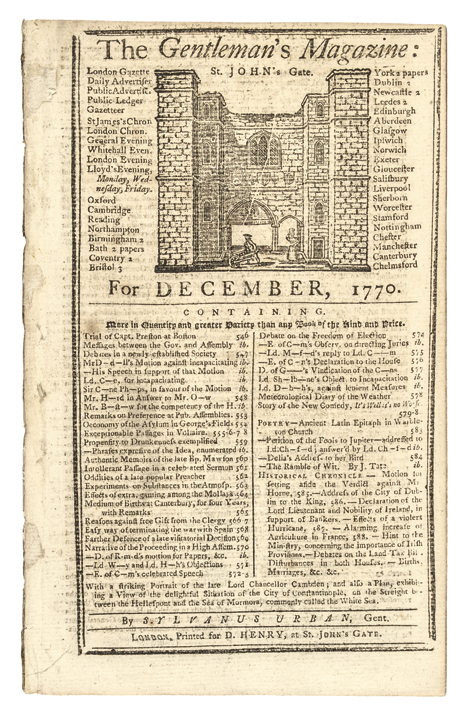 1770, THE GENTLEMANS MAGAZINE, BOSTON MASSACRE TRIAL News