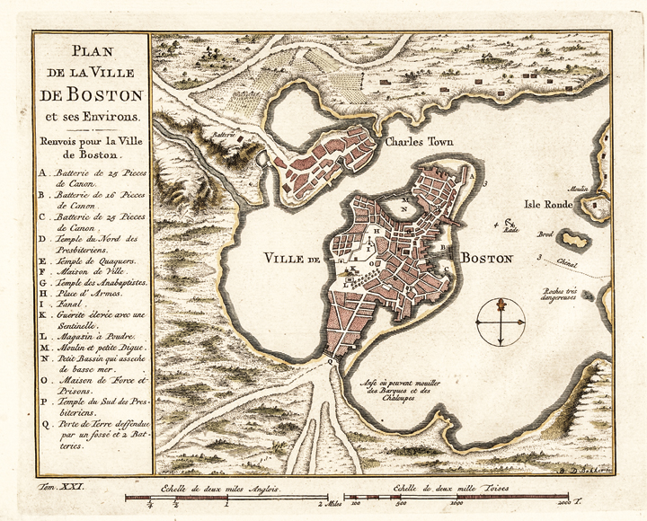c. 1770 Georgeous Hand-Colored Plan of Boston Town and Harbor by Bellin