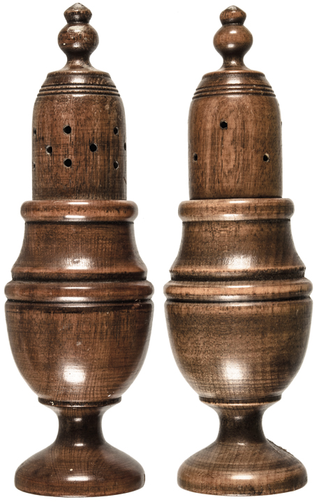 Decorative Matching Pair of Colonial Period Treen Wood Salt + Pepper Shakers