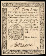 Colonial Currency, PA, April 20, 1781. 3 Pence. Error Spelling with Penee.