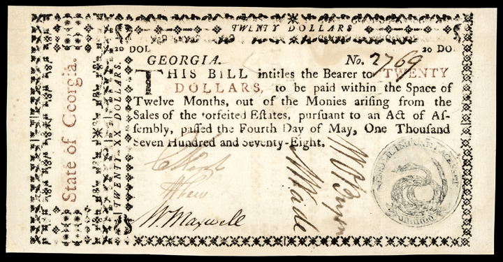 Colonial Currency, WILLIAM FEW Signed GA. 1778 $20 Rattlesnake Seal PMG Unc-60