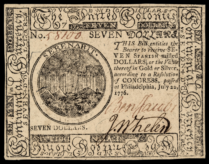 Continental Currency. July 22, 1776 $7 BENJAMIN JACOBS Signed PMG Choice Unc. 63