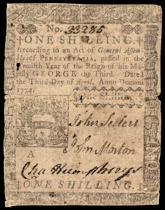 Rare 1772 Signer JOHN MORTON Signed Pennsylvania Colonial Note