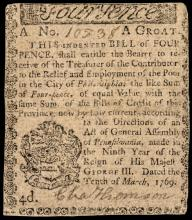 Colonial Currency. 1769 PA. CHARLES THOMSON, Continental Congress Secretary