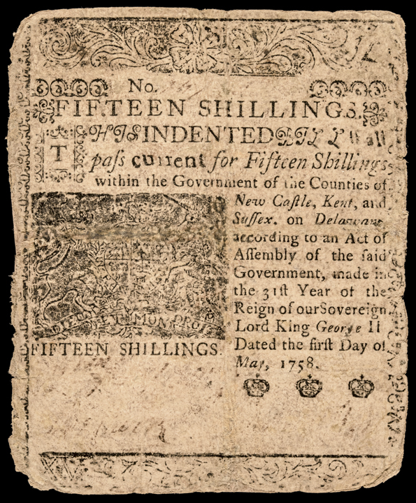 Colonial Currency, Delaware May 1,1758 BENJAMIN FRANKLIN Printed Note